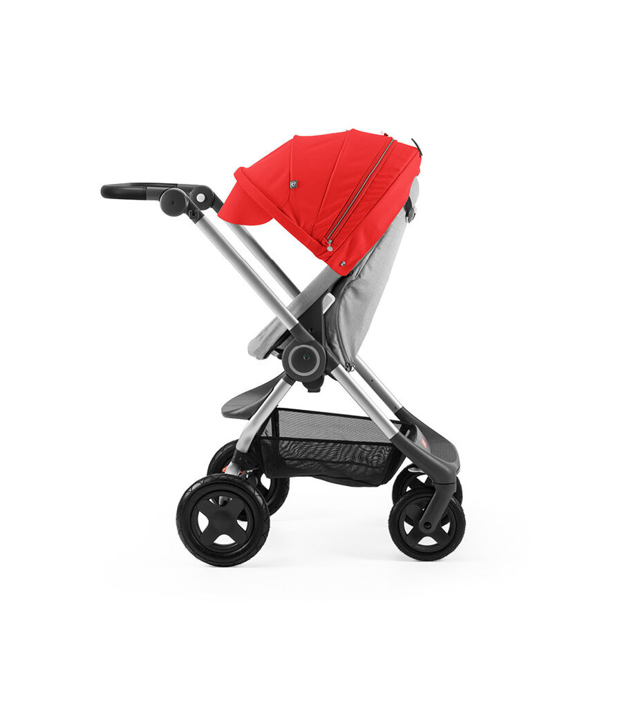 Stokke® Scoot™ Grey Melange with Red Canopy. Parent facing, active position.