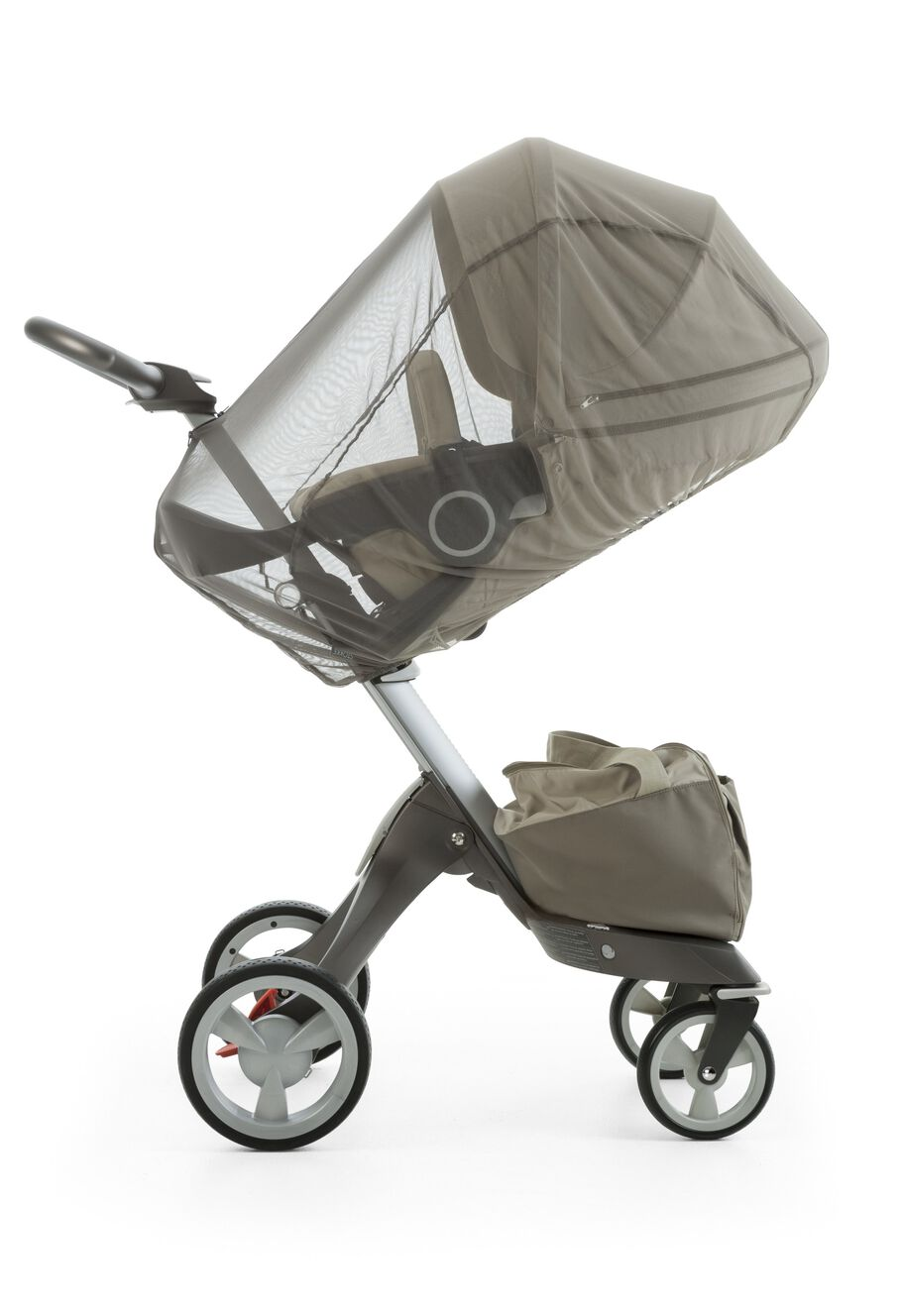 Stokke® Xplory® with Stokke® Stroller Seat, Beige. Mosquito Net.