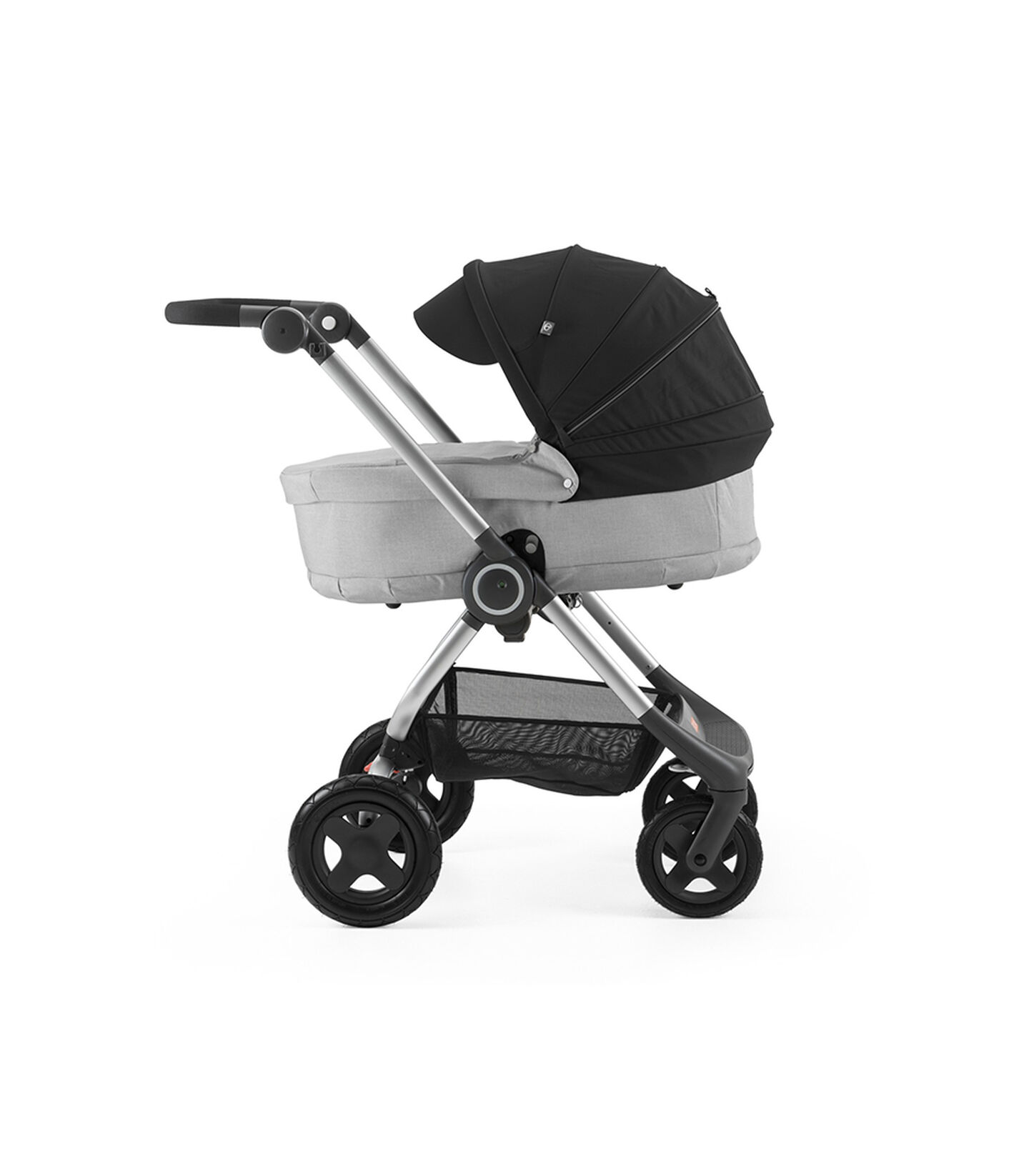 Stokke® Scoot™ with Carry Cot Grey Melange and Black Canopy.