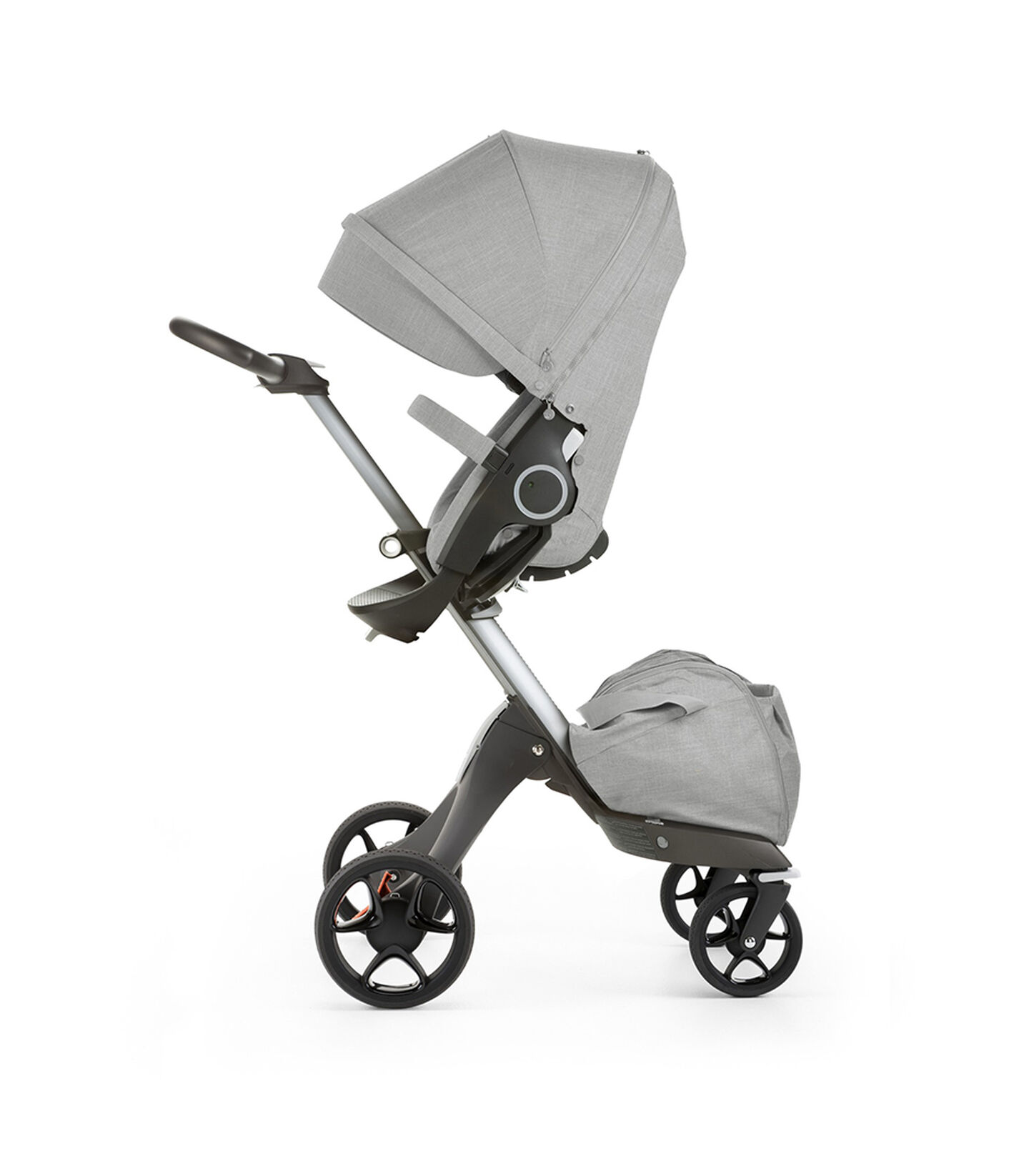 Stokke® Xplory® with Stokke® Stroller Seat, parent facing, active position. Grey Melange. New wheels 2016.
