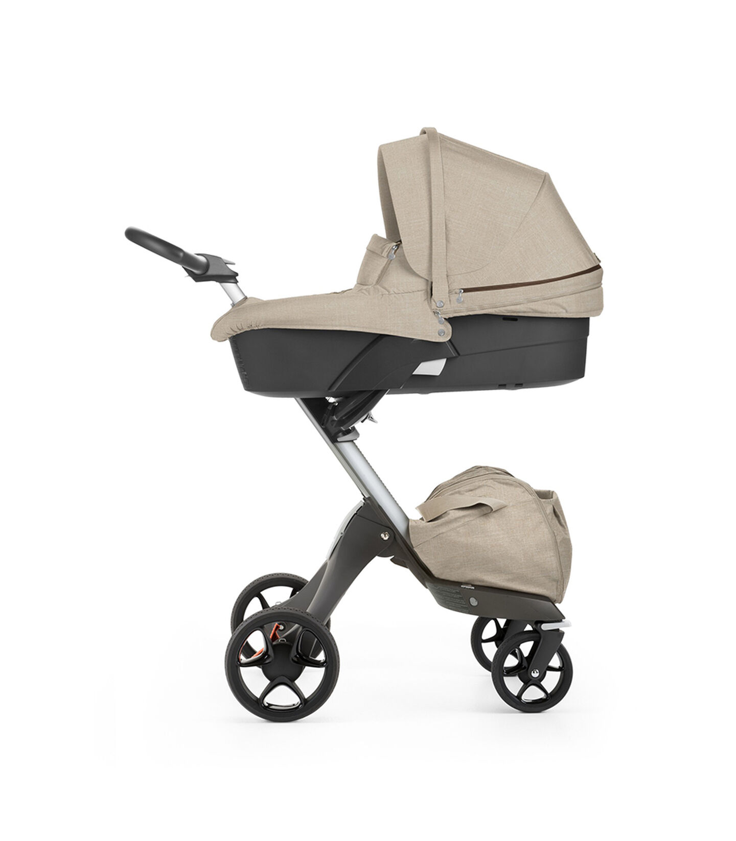 Stokke® Xplory® with Carry Cot, Beige Melange. New wheels 2016.