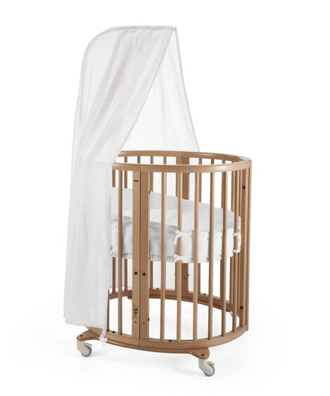 Stokke® Sleepi Mini, Natural. Canopy, Bumper and Fitted Sheet Aqua Straw.