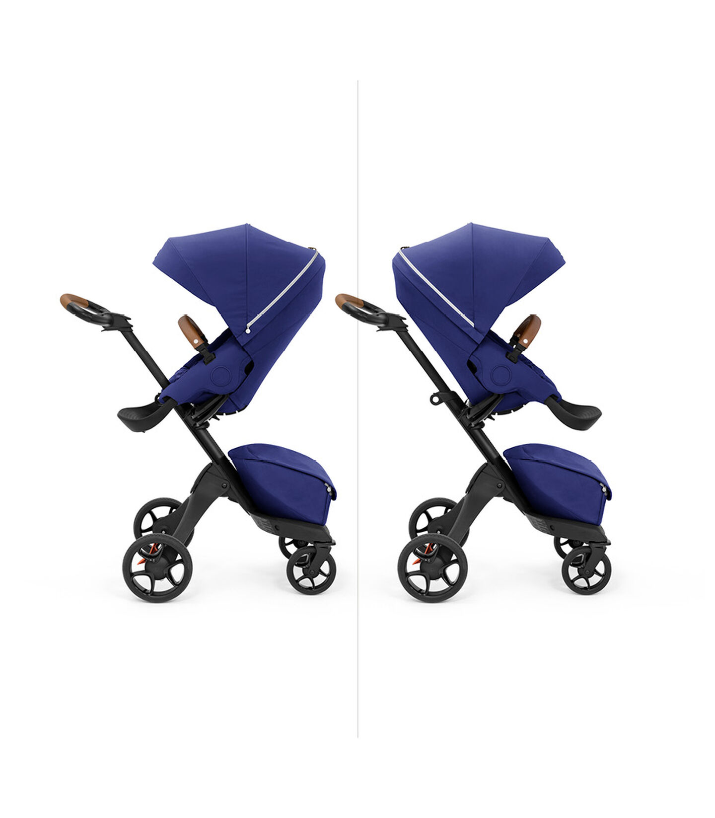 Stokke® Xplory X with seat, Royal Blue. Parent and forward facing. view 5