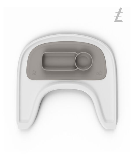 ezpz by Stokke®, Soft Grey. Stokke Tray White for Tripp Trapp®.