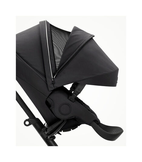 Stokke® Xplory® X Rich Black Stroller with Seat. Forward Facing. Extended Canopy Open Ventilation. view 4