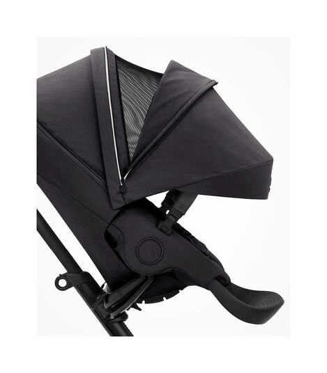 Stokke® Xplory® X Rich Black Stroller with Seat. Forward Facing. Extended Canopy Open Ventilation. view 3