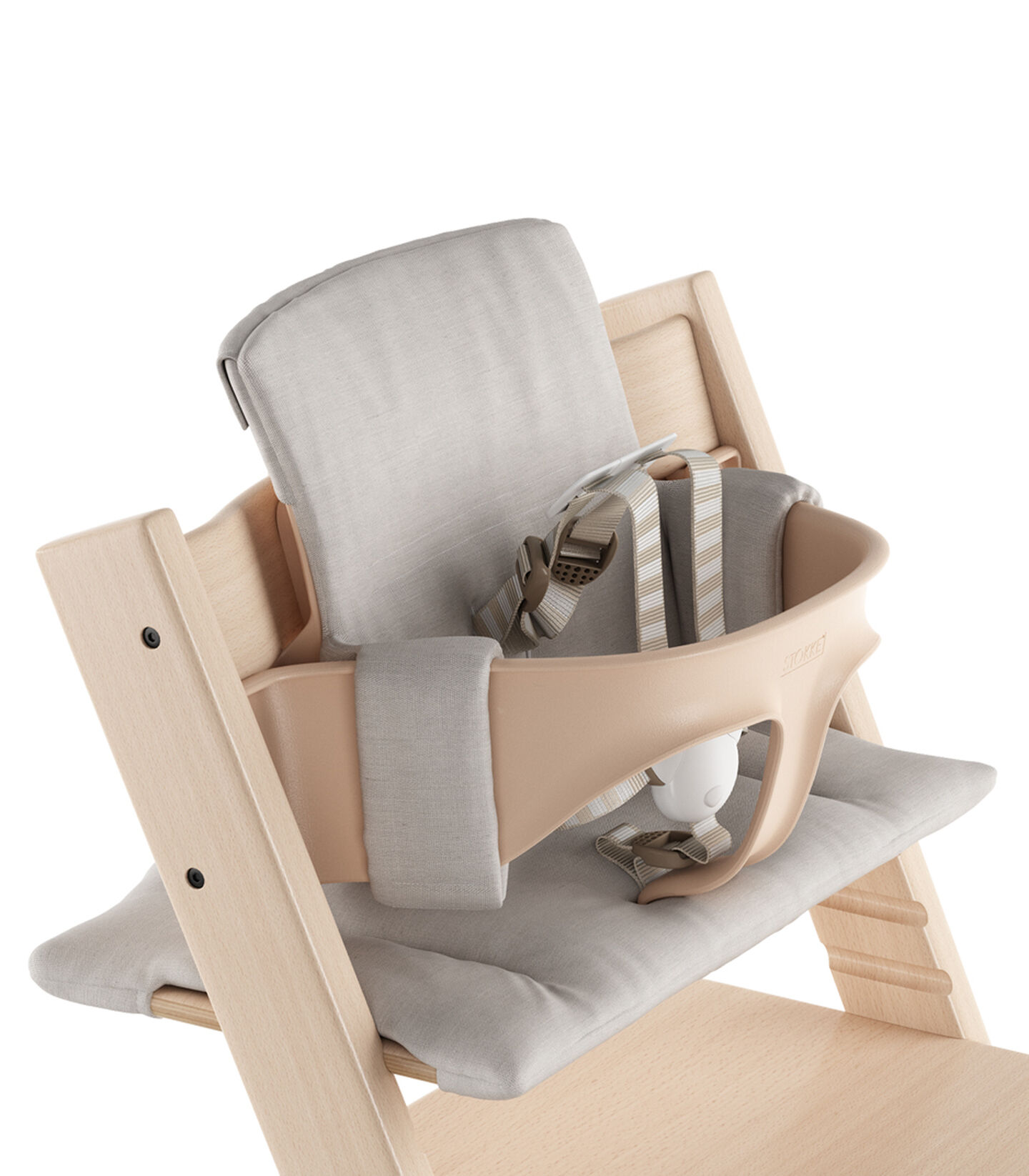 Tripp Trapp® Natural Beech. With Baby Set and Grey Melange Cushion. 5-point Harness attached. US version. Detail.