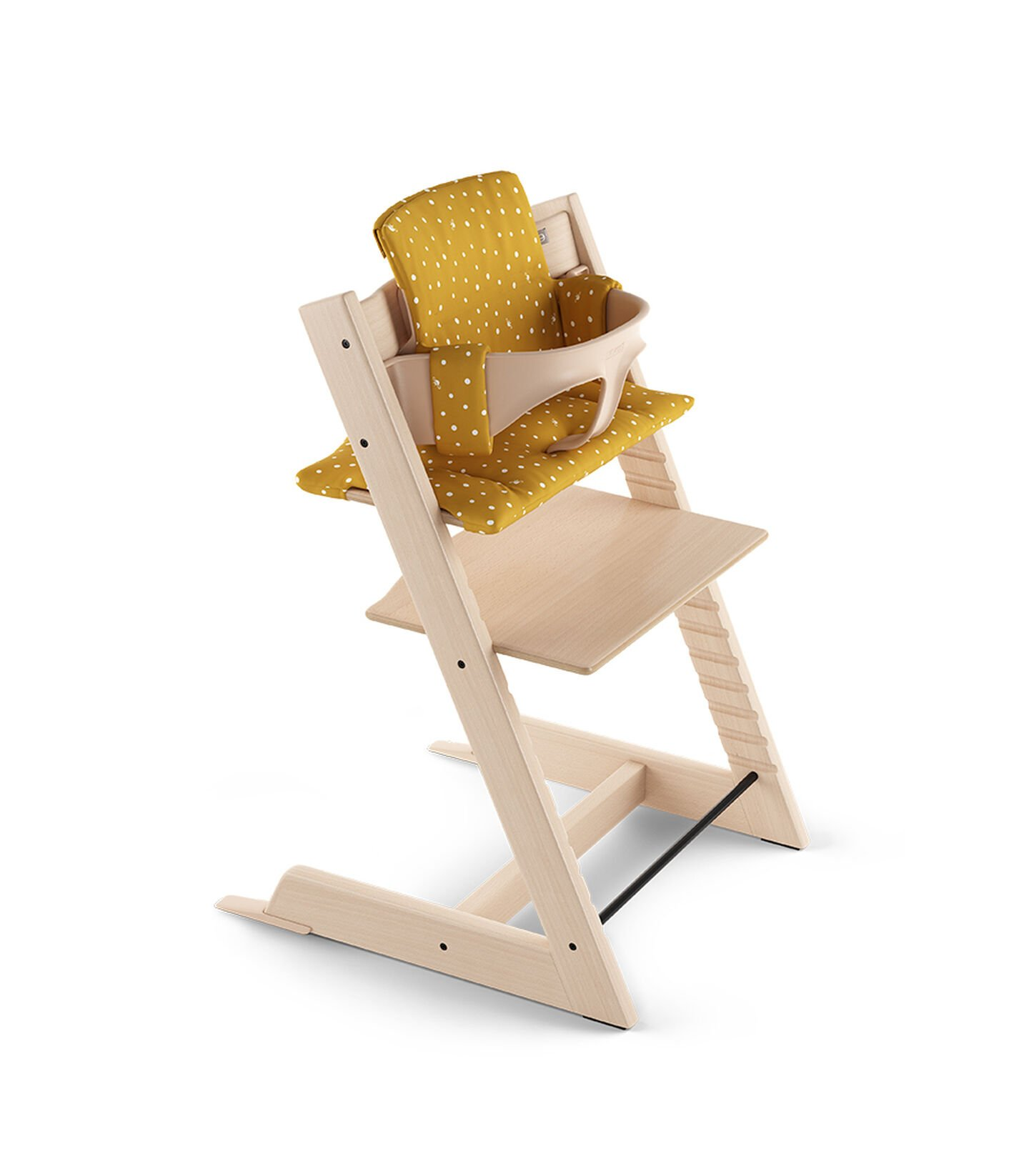 Tripp Trapp® Natural with Baby Set and Classic Cushion Ocker Bee.