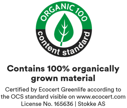 Certified organic cotton (OCS 100 certified)