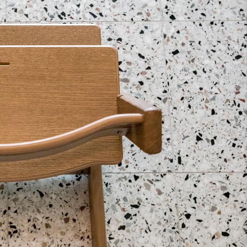 TT Oak Brown Chair close up