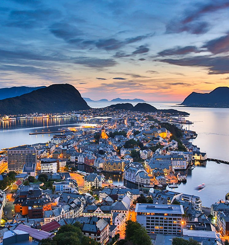 View of the Norwegian town at night