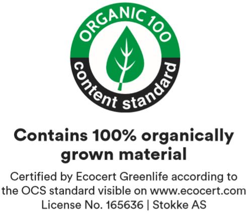 Certified organic cotton (OCS 100 certified)