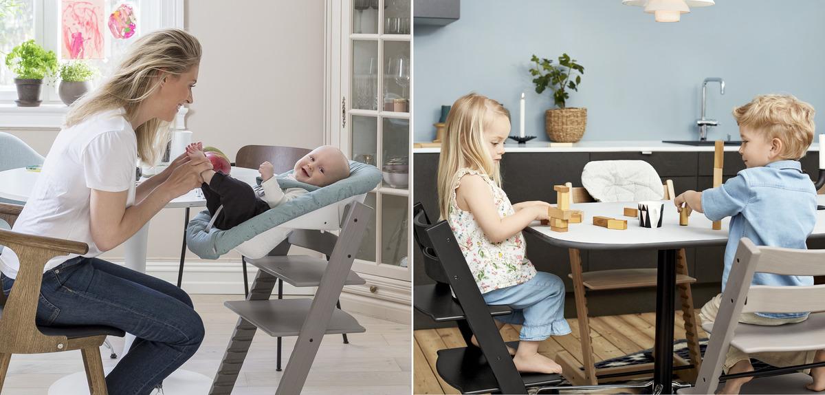 寶寶坐在 Tripp Trapp 成長椅上,與媽媽一起在桌邊用餐