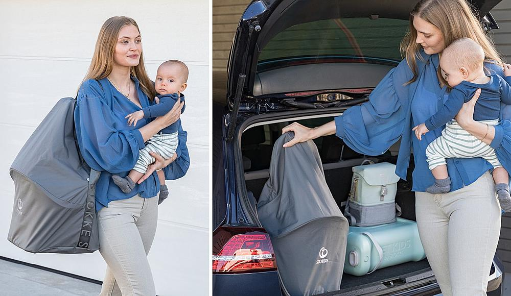 Mother carrying baby with Clikk chair in Travel Bag