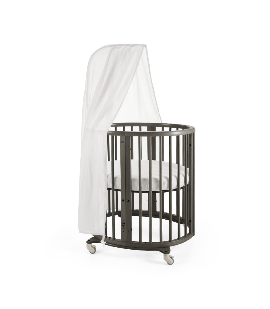 Stokke® Sleepi Mini, Hazy Grey. Canopy and Fitted Sheet White.