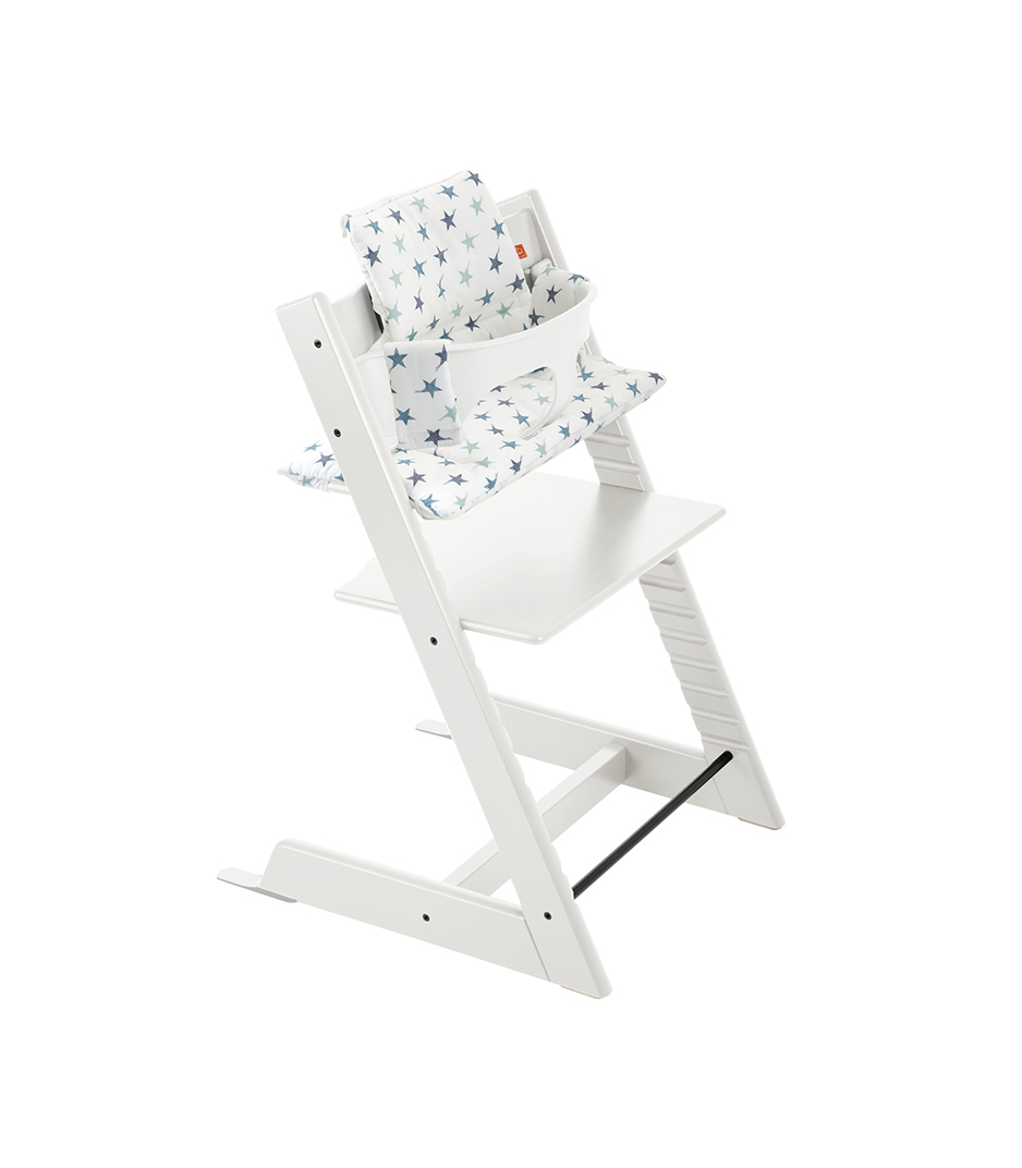 Tripp Trapp® White with Aqua Star cushion