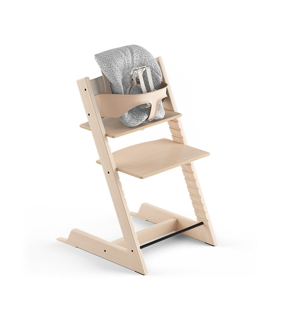 Tripp Trapp® Natural, Beech. With Tripp Trapp® Baby Set and Baby Cushion Cloud Sprinkle. US version with Harness.
