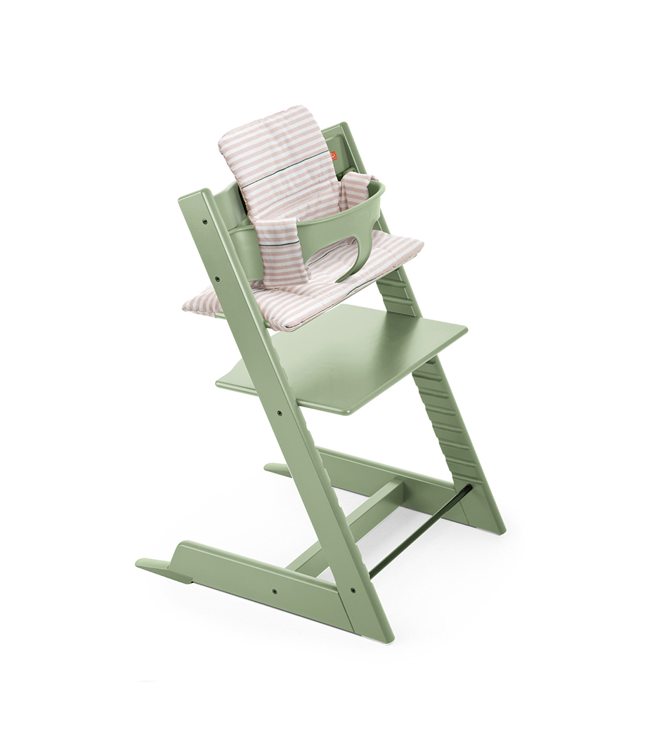 Tripp Trapp® Moss Green with Baby Set and Pink Stripe Cushion.