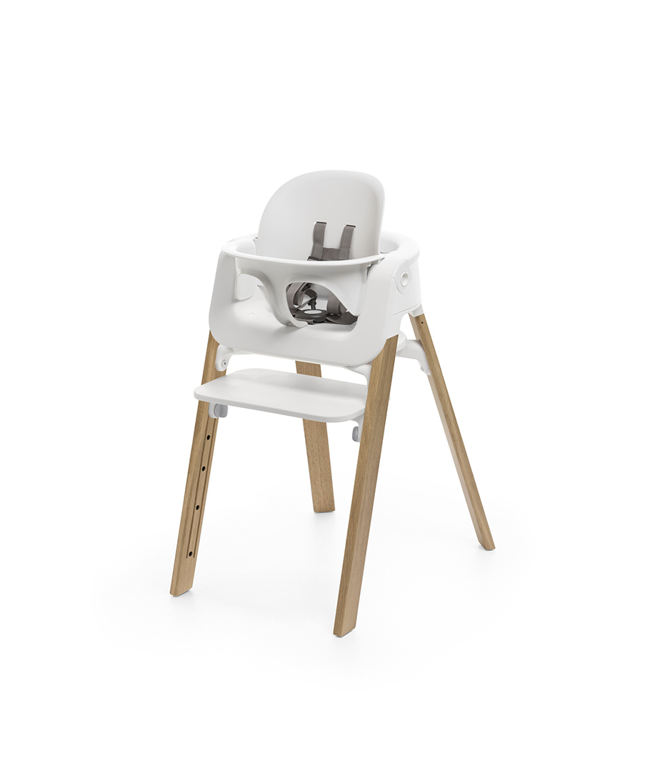 stokke steps chair white seat oak natural legs. Black Bedroom Furniture Sets. Home Design Ideas