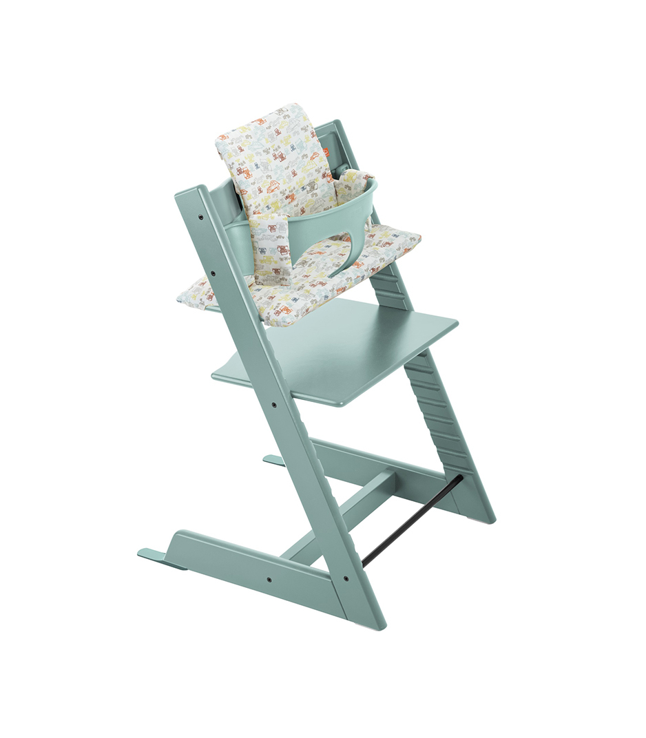 Tripp Trapp® Aqua Blue with Baby Set and Retro Cars Cushion.
