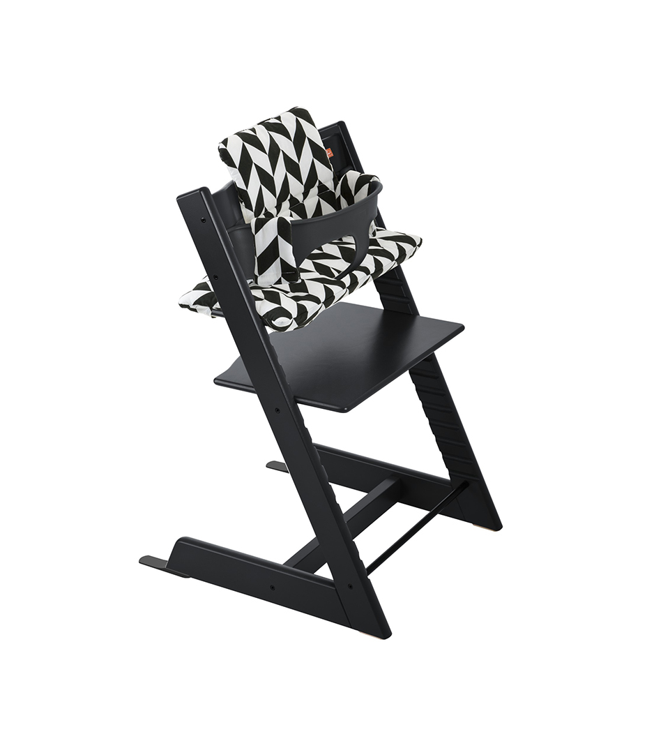 Tripp Trapp® Black with Baby Set and Black Chevron Cushion.
