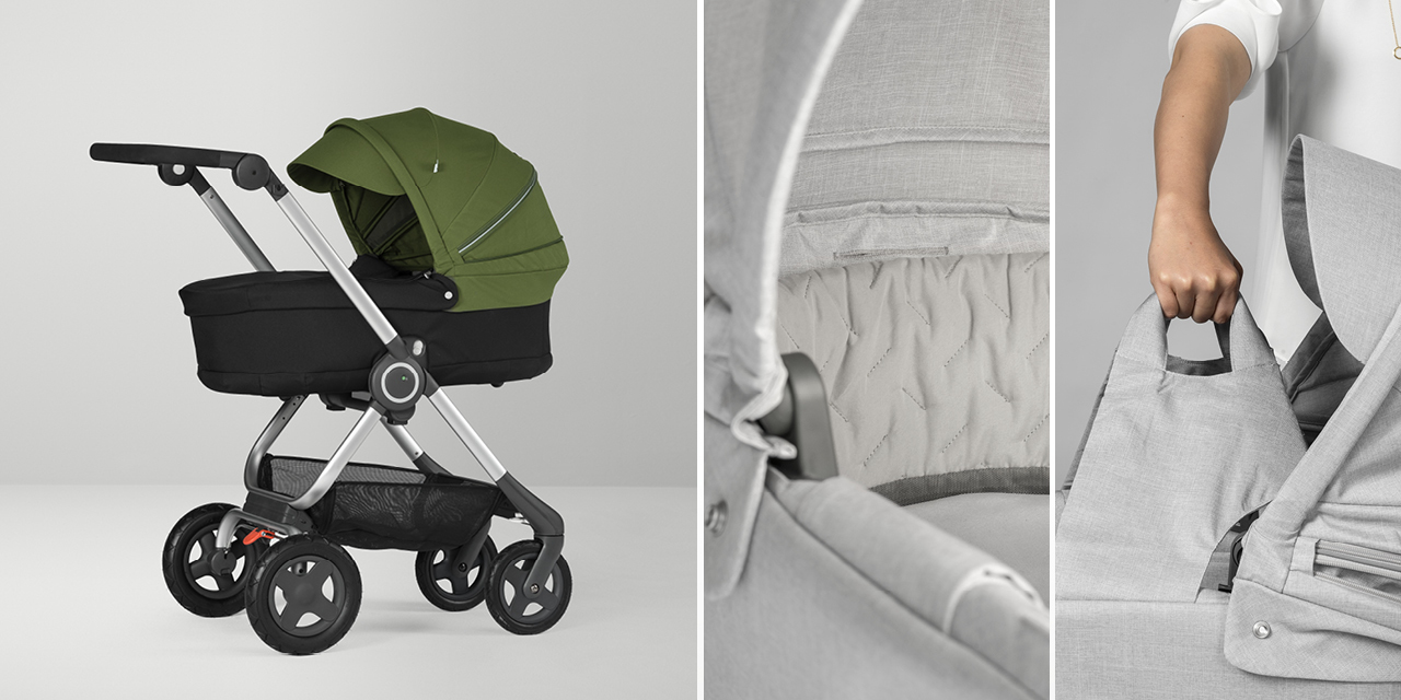 Stokke® Scoot™ Carry Cot Black with Green Canopy. Carry Cot details.