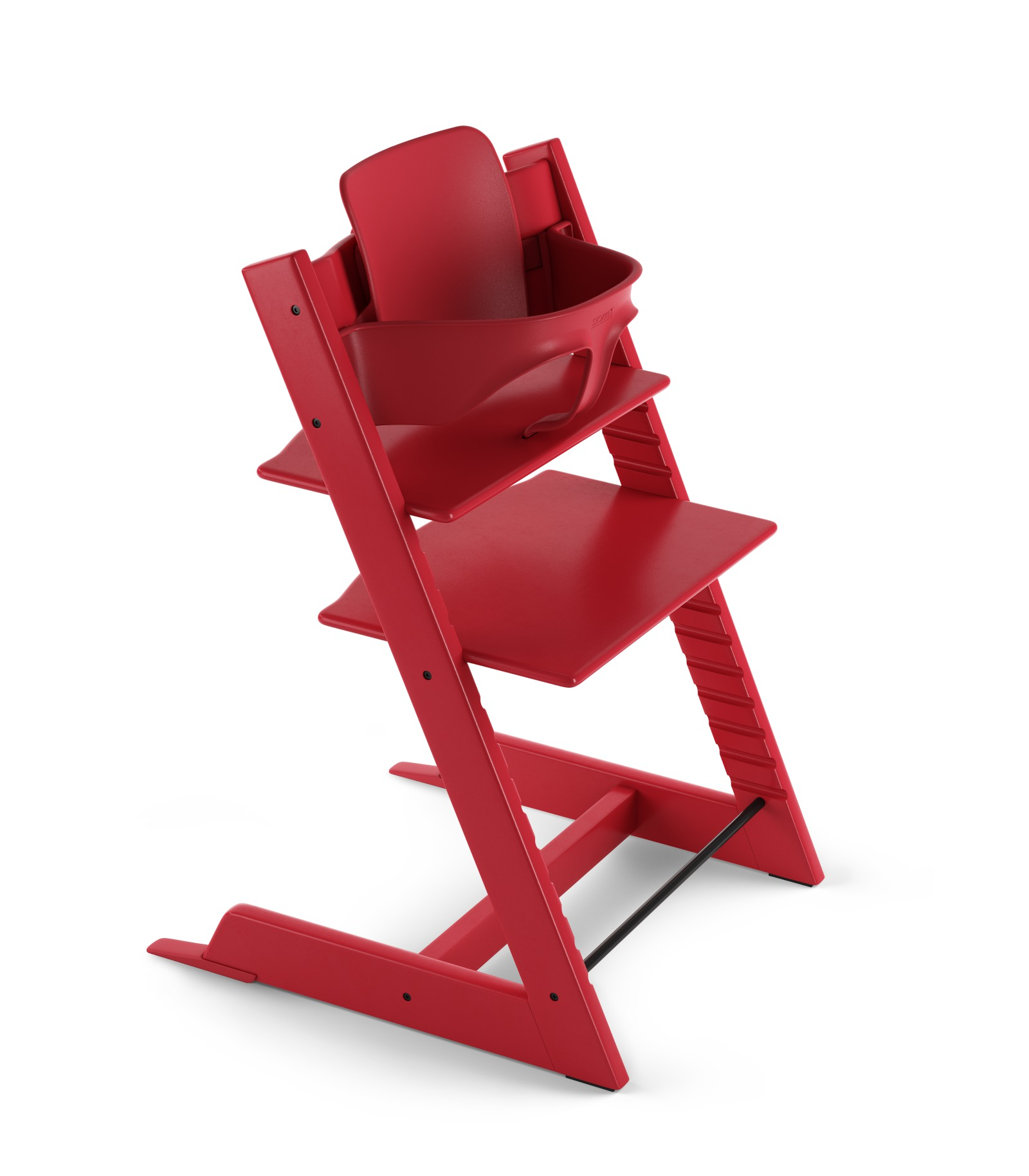 Tripp Trapp® Chair Red, Beech, with Baby Set. 3D rendering.