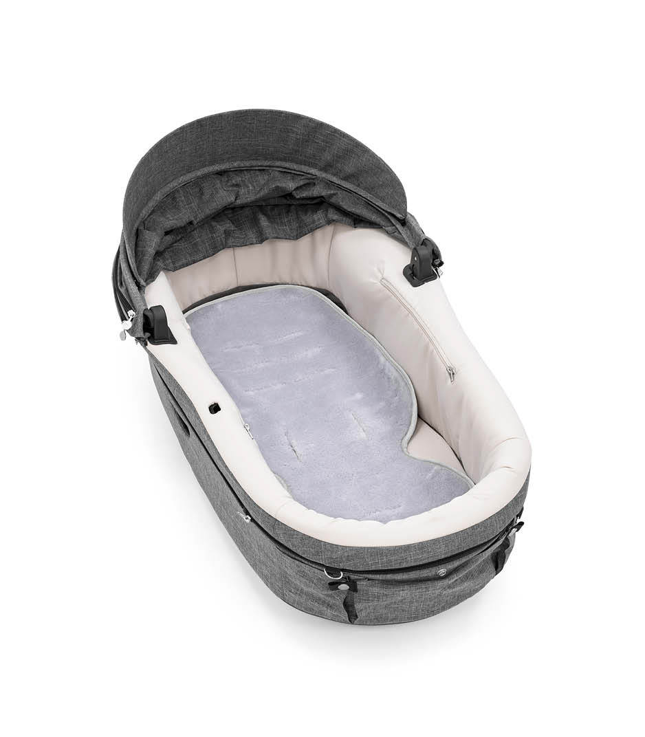 Stokke® Stroller Carry Cot with Stokke® Stroller All Weather Inlay, warm wool.