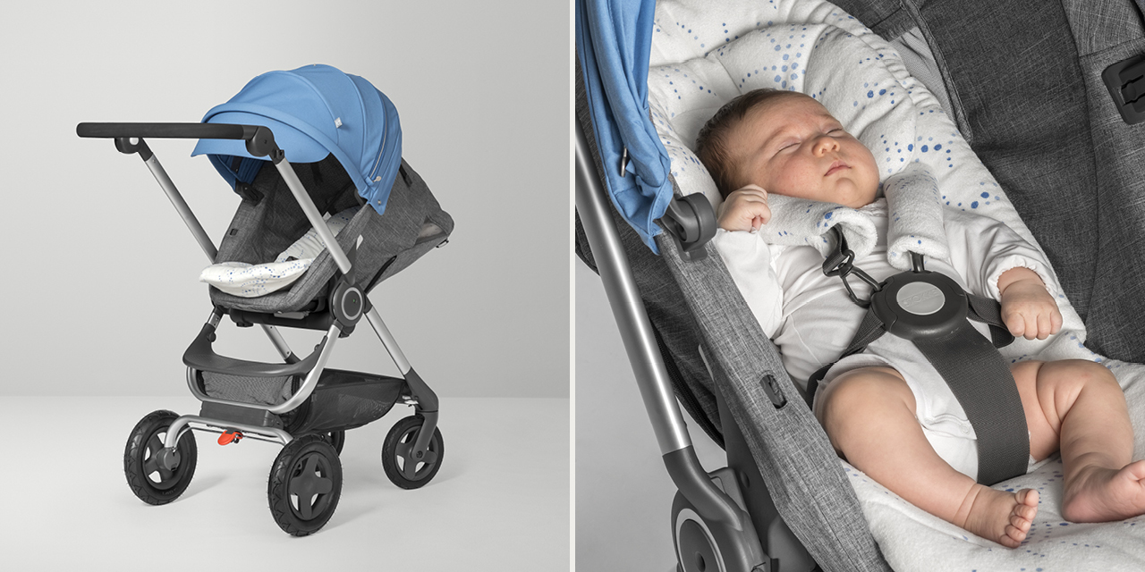 Stokke® Scoot™ with seat Black Melange and Blue Canopy. Newborn Insert detail.