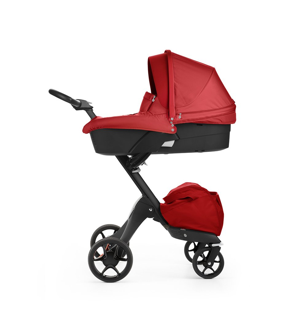 Stokke® Xplory® with Black chassis and Carry Cot, Red. New wheels 2016.