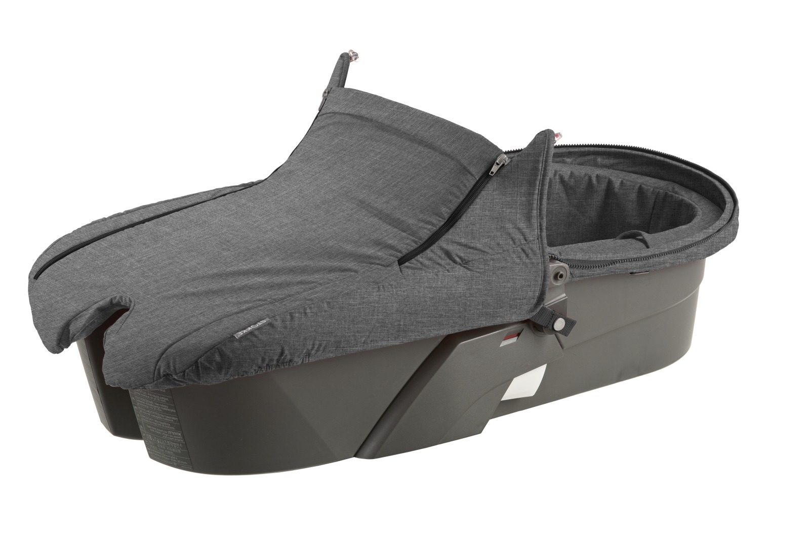 Carry Cot without Hood, Black Melange.