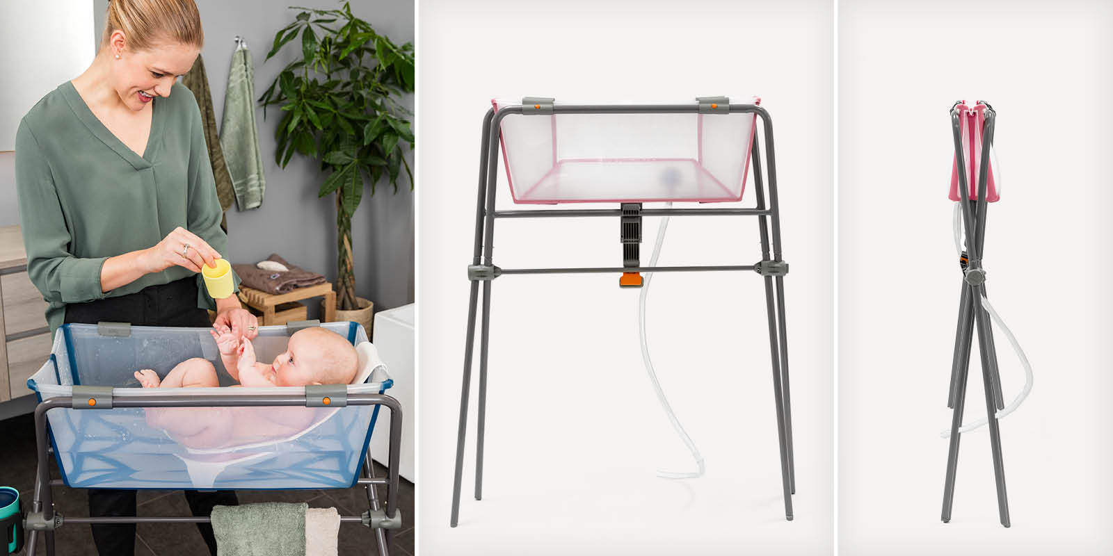 Stokke® Flexi Bath® Transparent Blue with Newborn Support, on Stokke™ Flexi Bath™ Stand. Tranparent Pink on Stokke™ Flexi Bath™ Stand.
