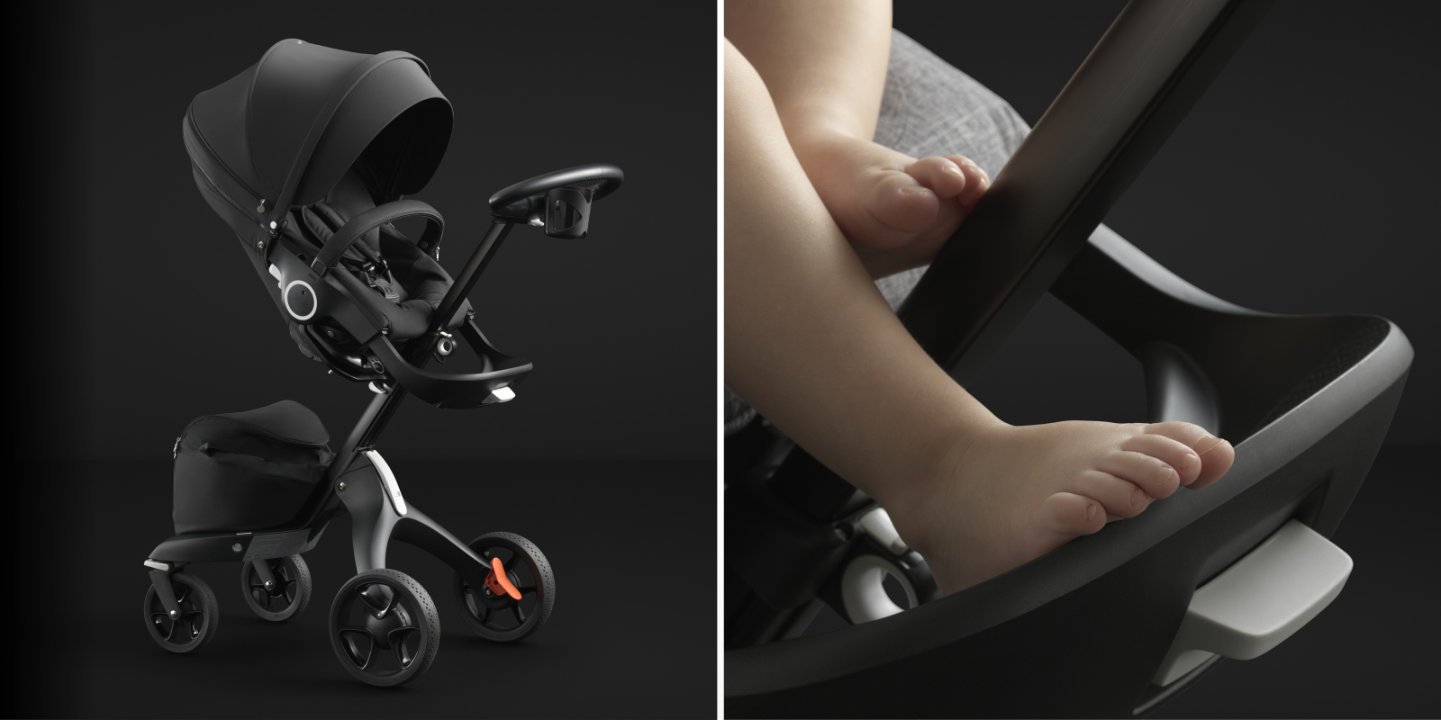Stokke® Xplory® Black Chassis, with Stokke® Stroller Seat, Black, and detail close up.