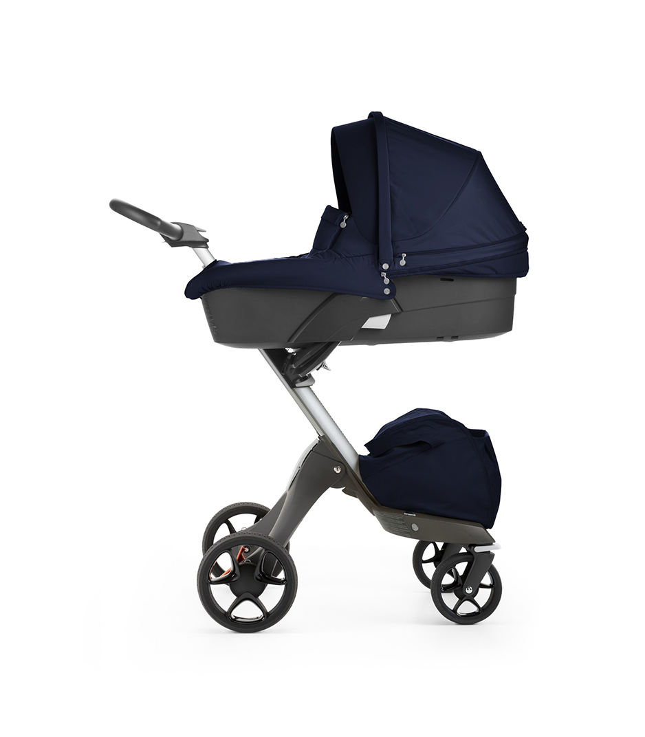 Stokke® Xplory® with Carry Cot, Deep Blue. New wheels 2016.