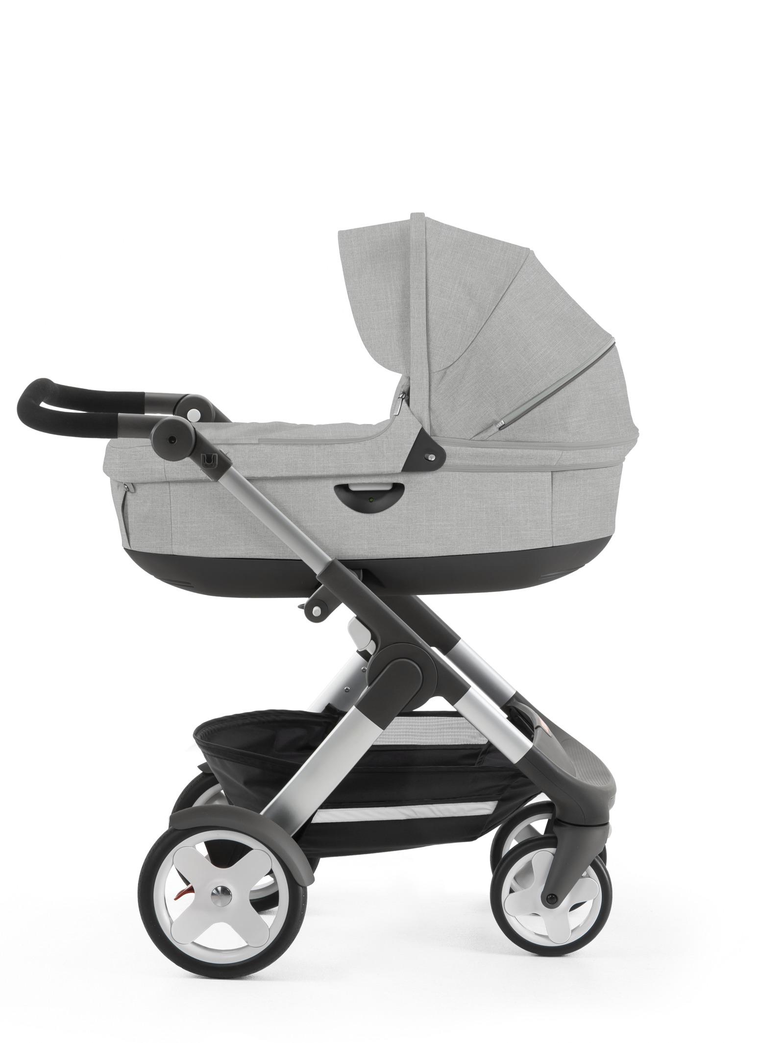 Stokke® Trailz™ with Stokke® Stroller Carry Grey Melange, Red. Classic Wheels.