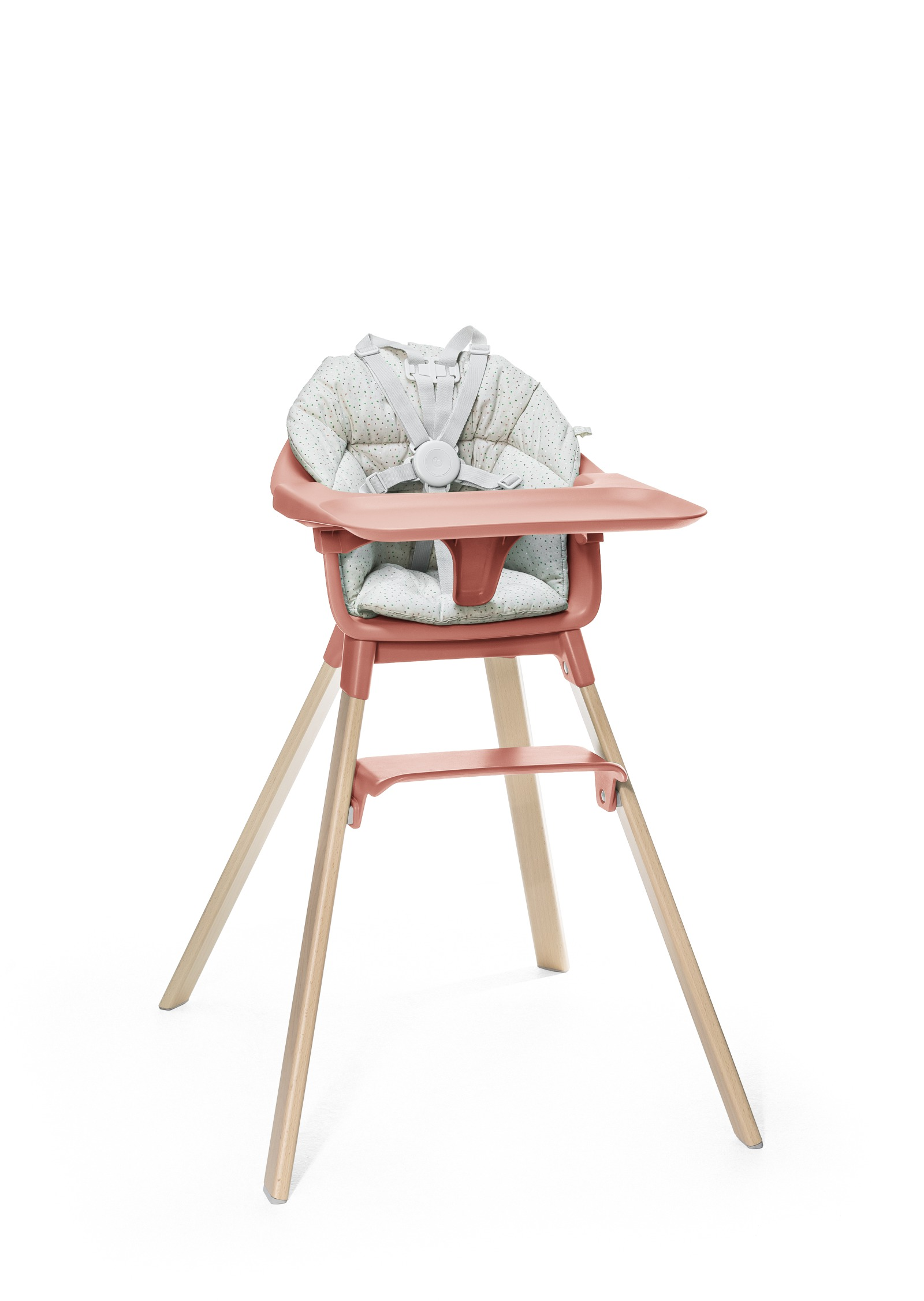 Stokke® Clikk™ High Chair. Natural Beech wood and Sunny Coral plastic parts including Tray. Cushion Grey Sprinkle and Harness.