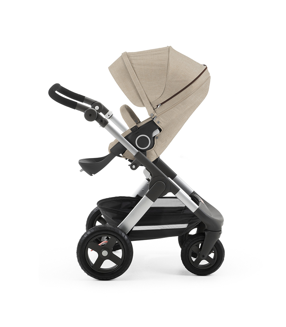 Chassis with Stokke® Stroller Seat, Beige Melange.