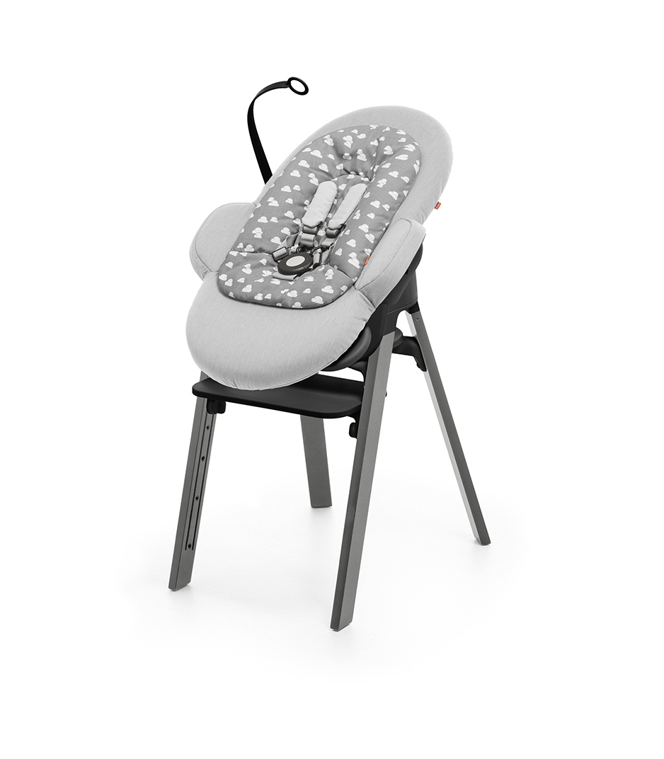 Stokke® Steps™ Storm Grey with Black Seat and footrest. Bouncer Grey Clouds.