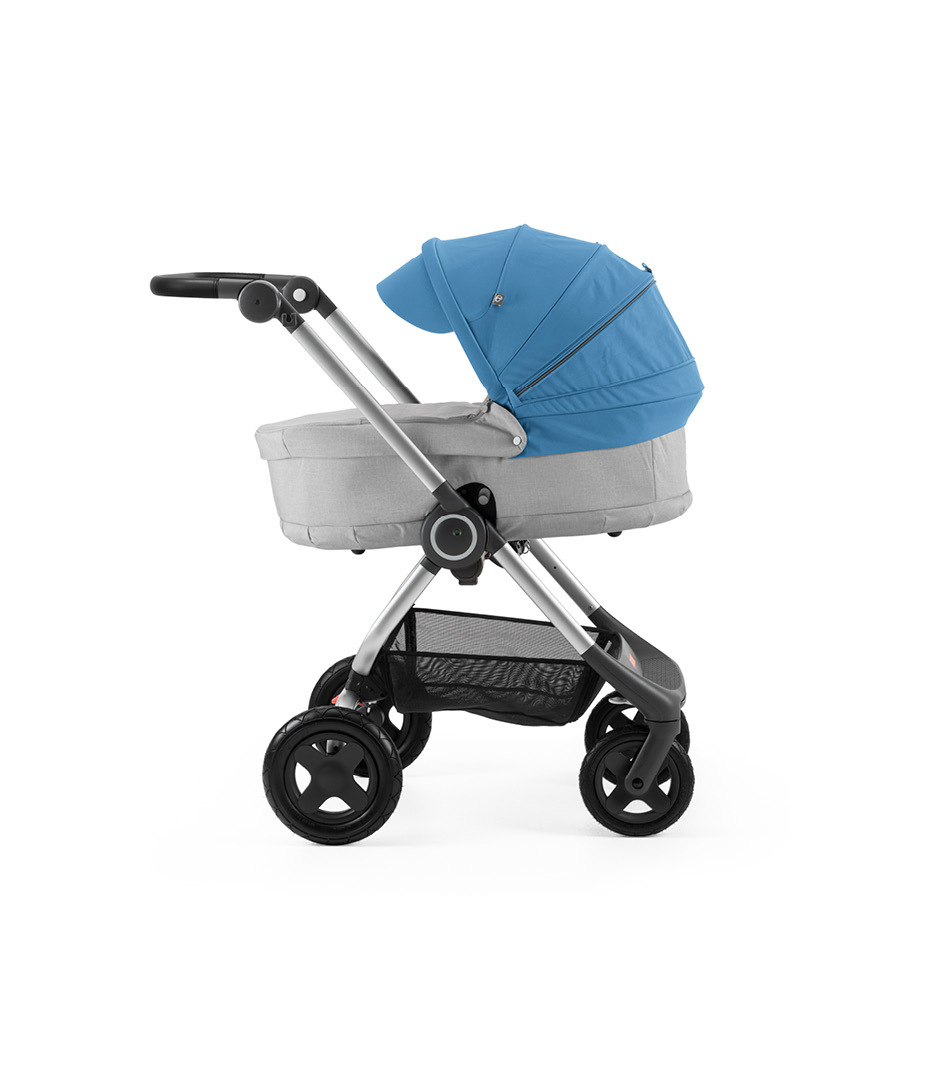 Stokke® Scoot™ with Carry Cot, Grey Melange and Blue Canopy.