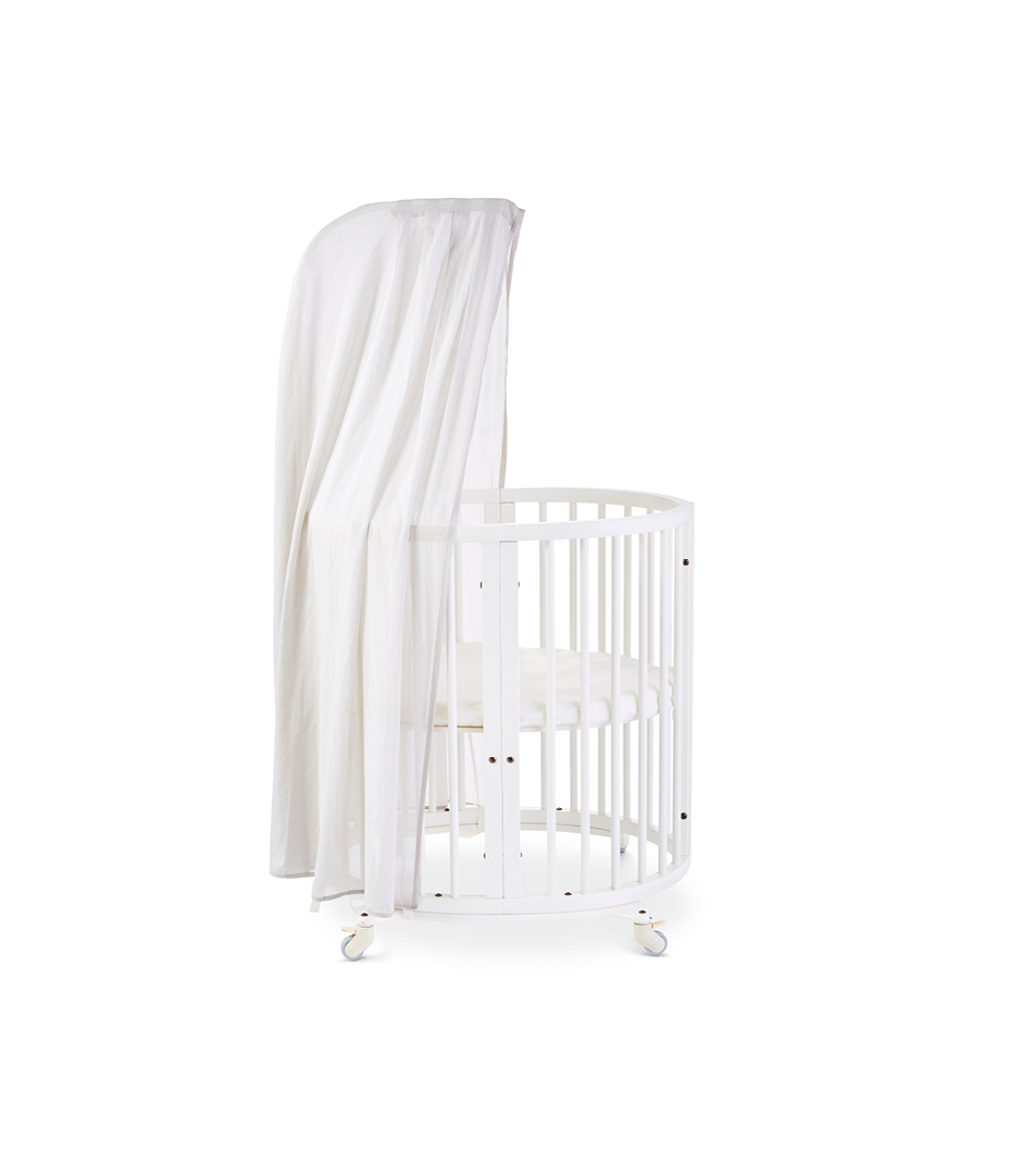 Stokke® Sleepi™ Mini, White. Canopy Pehr Grey. US only.
