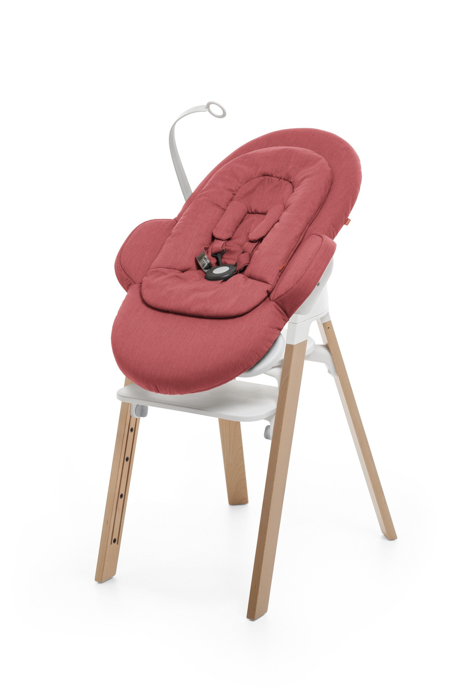 Bouncer, Red. Mounted on Stokke Steps highchair.