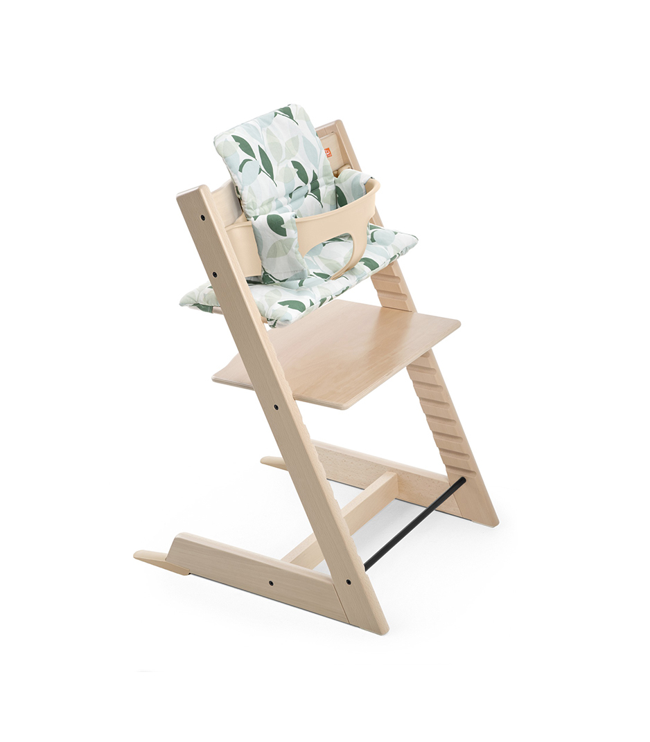 Tripp Trapp® Natural with Baby Set and Cushion Green Forest.