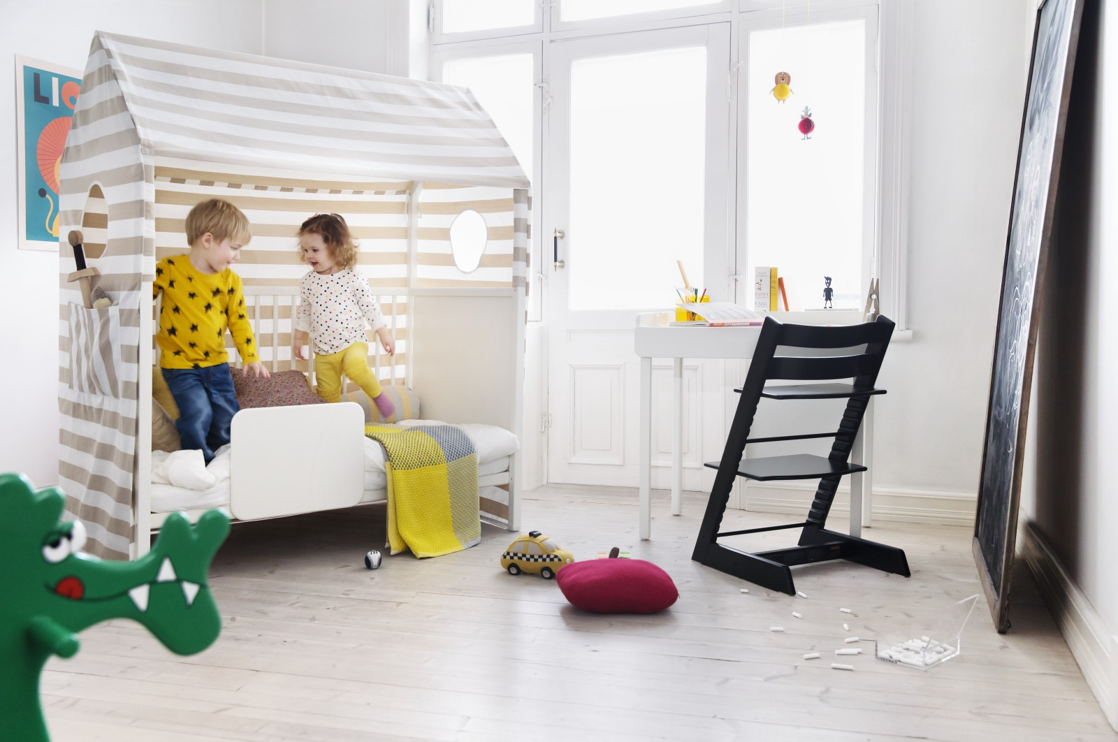Stokke® Home™ Bed White, with Bed Tent Textiles and Bed Guard.