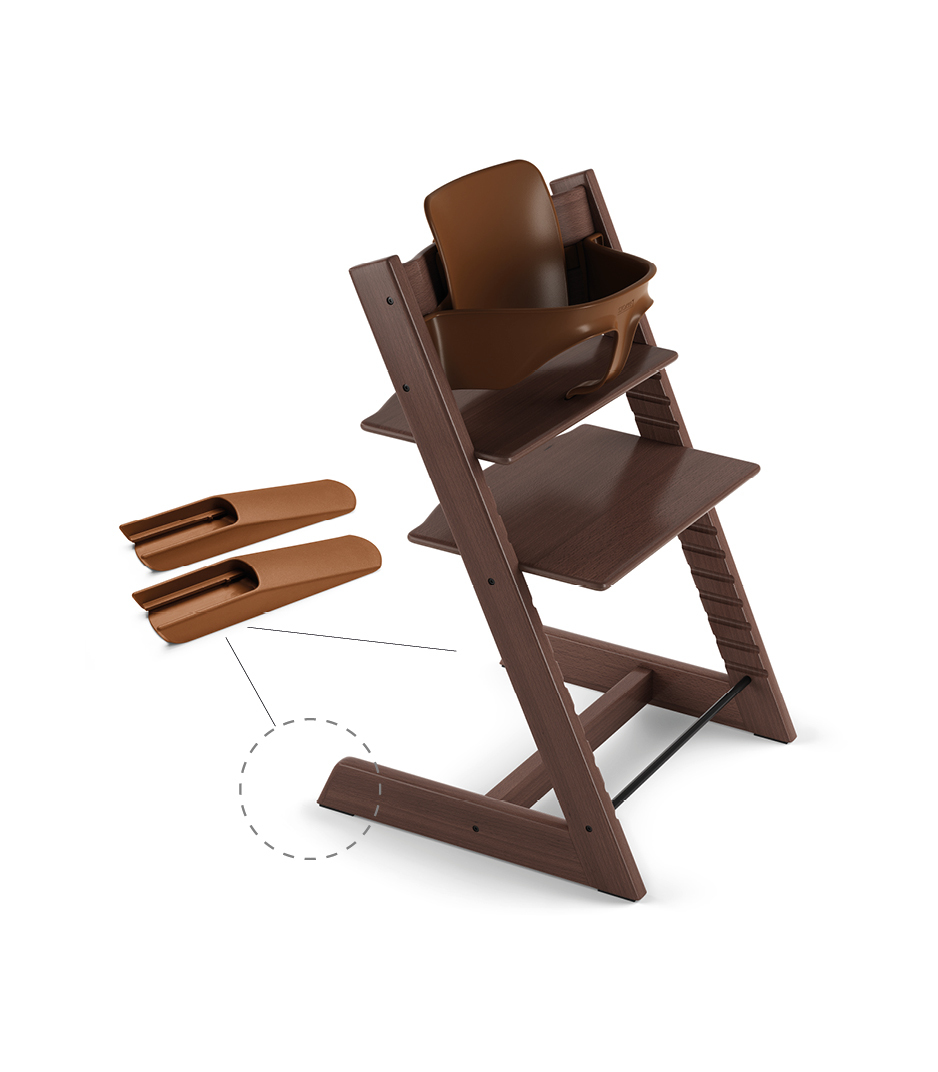 Tripp Trapp® Chair Walnut Brown, Beech, with Baby Set.