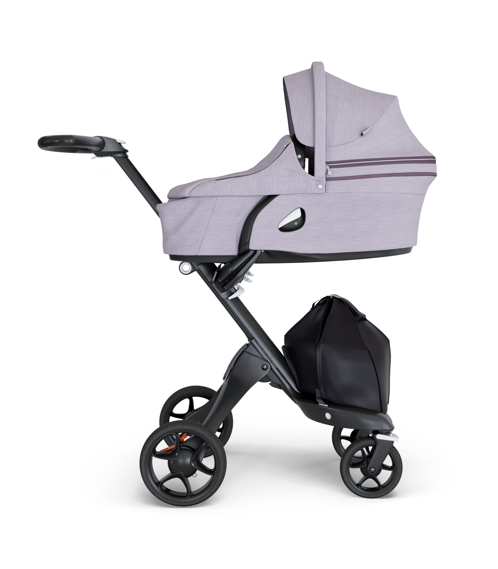 Stokke® Xplory® wtih Black Chassis and Leatherette Black handle. Stokke® Stroller Carry Cot Brushed Lilac.