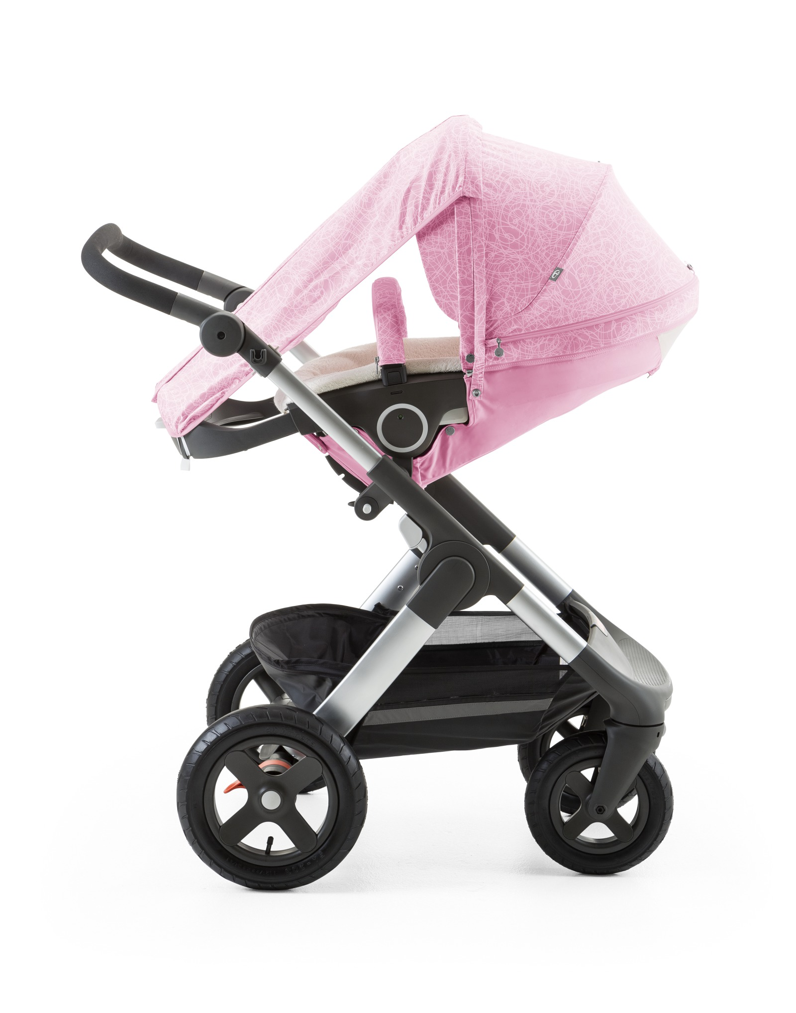 Stokke® Trailz™ with Stokke® Stroller Seat and Scribble Peony Pink SummerKit