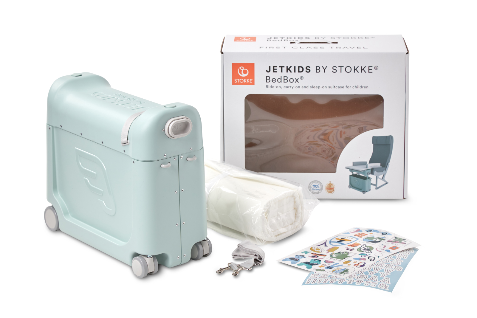 JetKids by Stokke® BedBox Green Aurora, packaging.