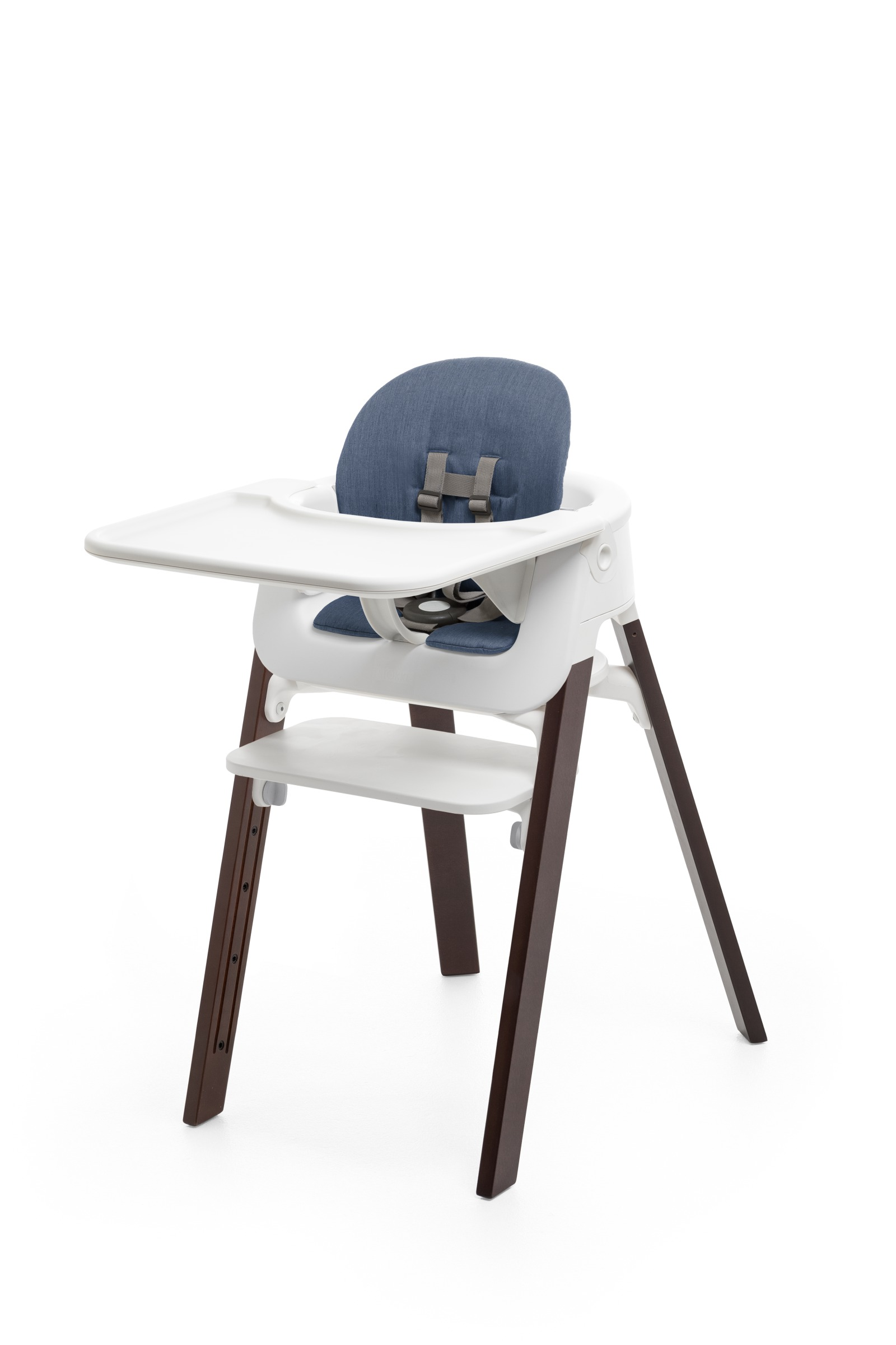 Accessories. Tray, Baby Set and cushion (Blue). Mounted on Stokke Steps highchair.