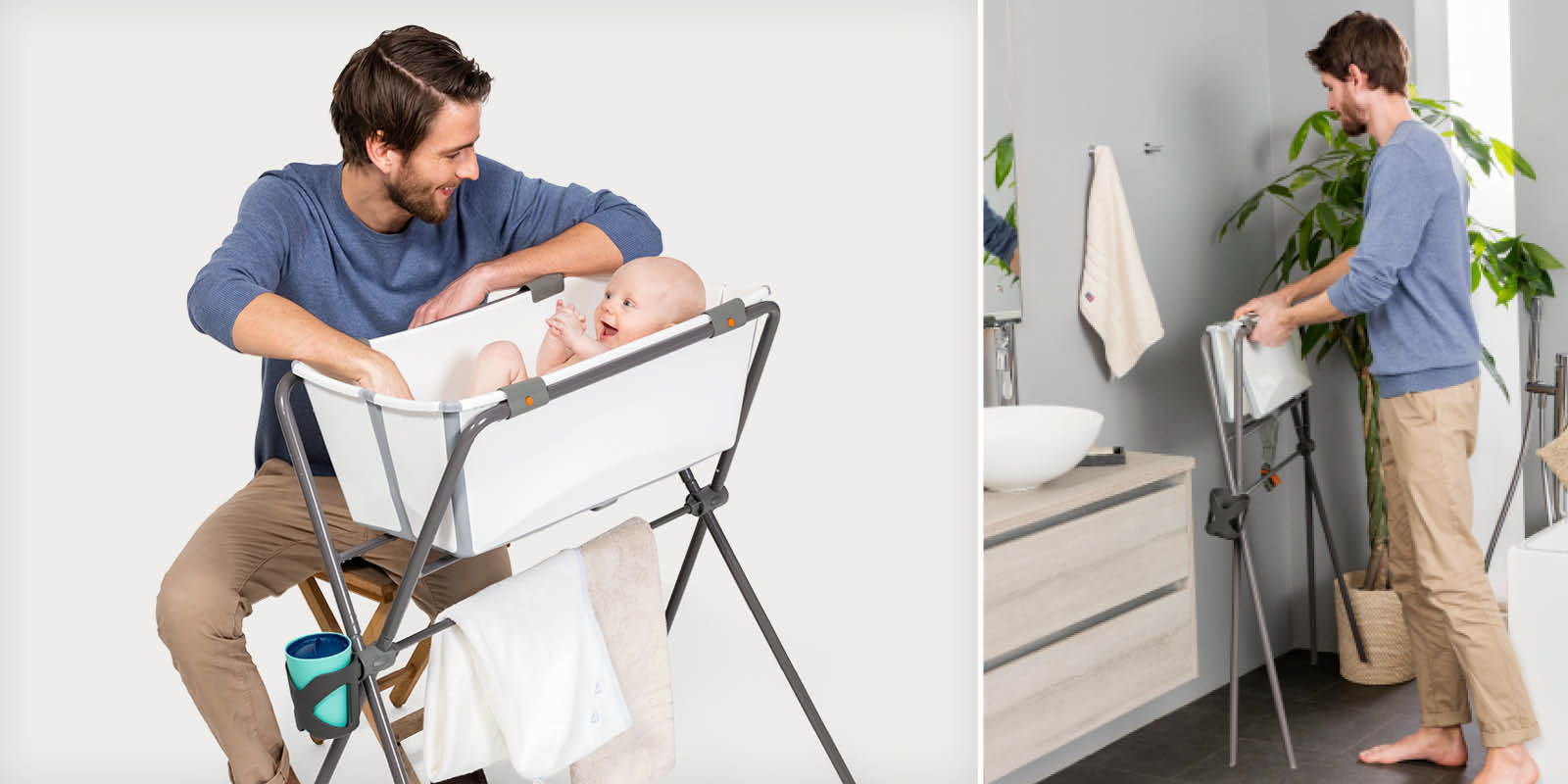 Stokke® Flexi Bath®  WhiteGrey with Newborn Support, on Stokke™ Flexi Bath™ Stand. Stokke® Flexi Bath® WhiteGrey on Stokke™ Flexi Bath™ Stand folded.
