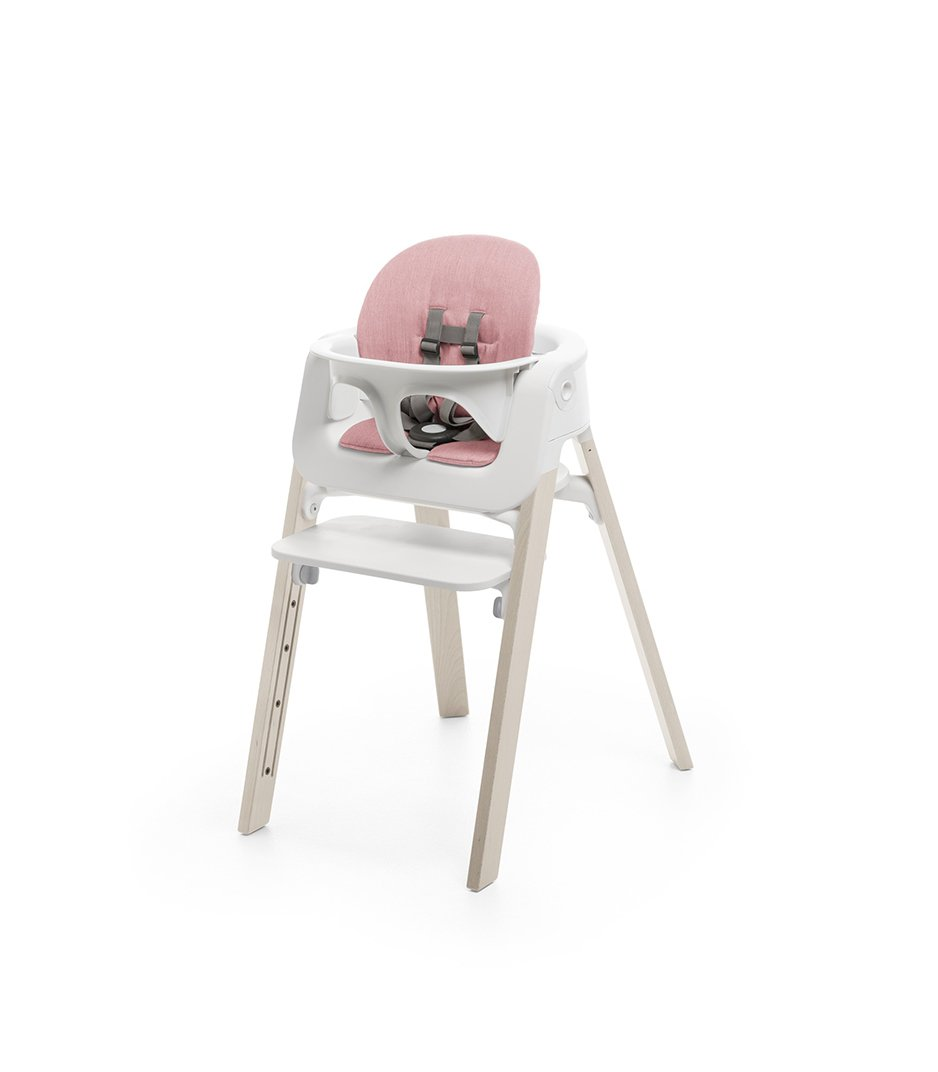 Stokke® Steps™ Whitewash with Baby Set, Tray and Pink Cushion.